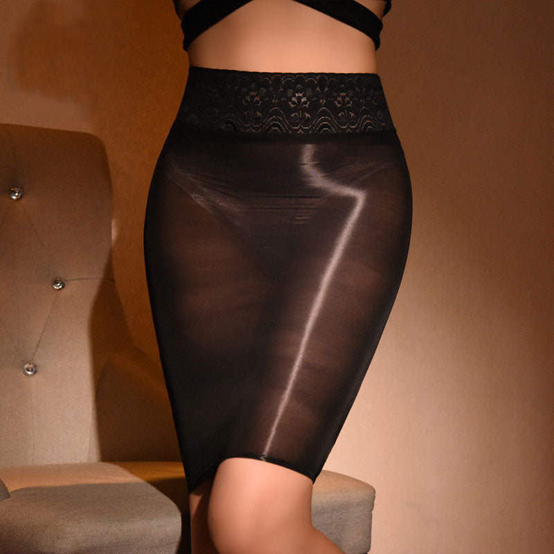 Lace High Waist Shiny Oil Glossy Mini Skirt