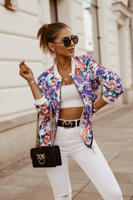 Flower Print Long Sleeve Bomber Jacket