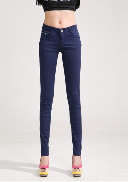 Elastic Mid Waist Zipper Slim Trousers