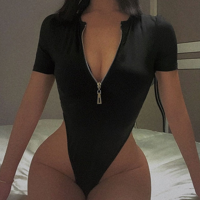 Sexy Zipper Long Sleeve Bodysuit