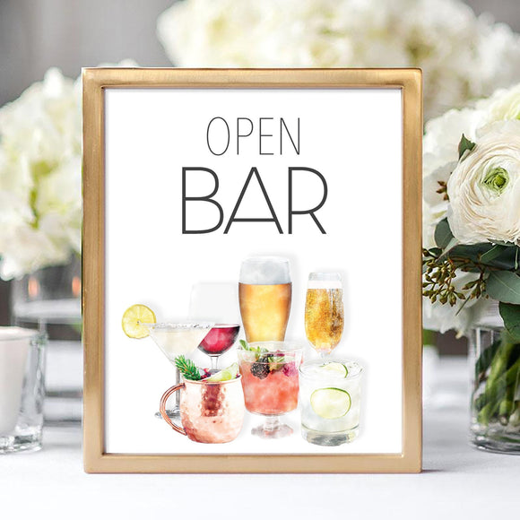 'Open Bar' Sign, 8x10