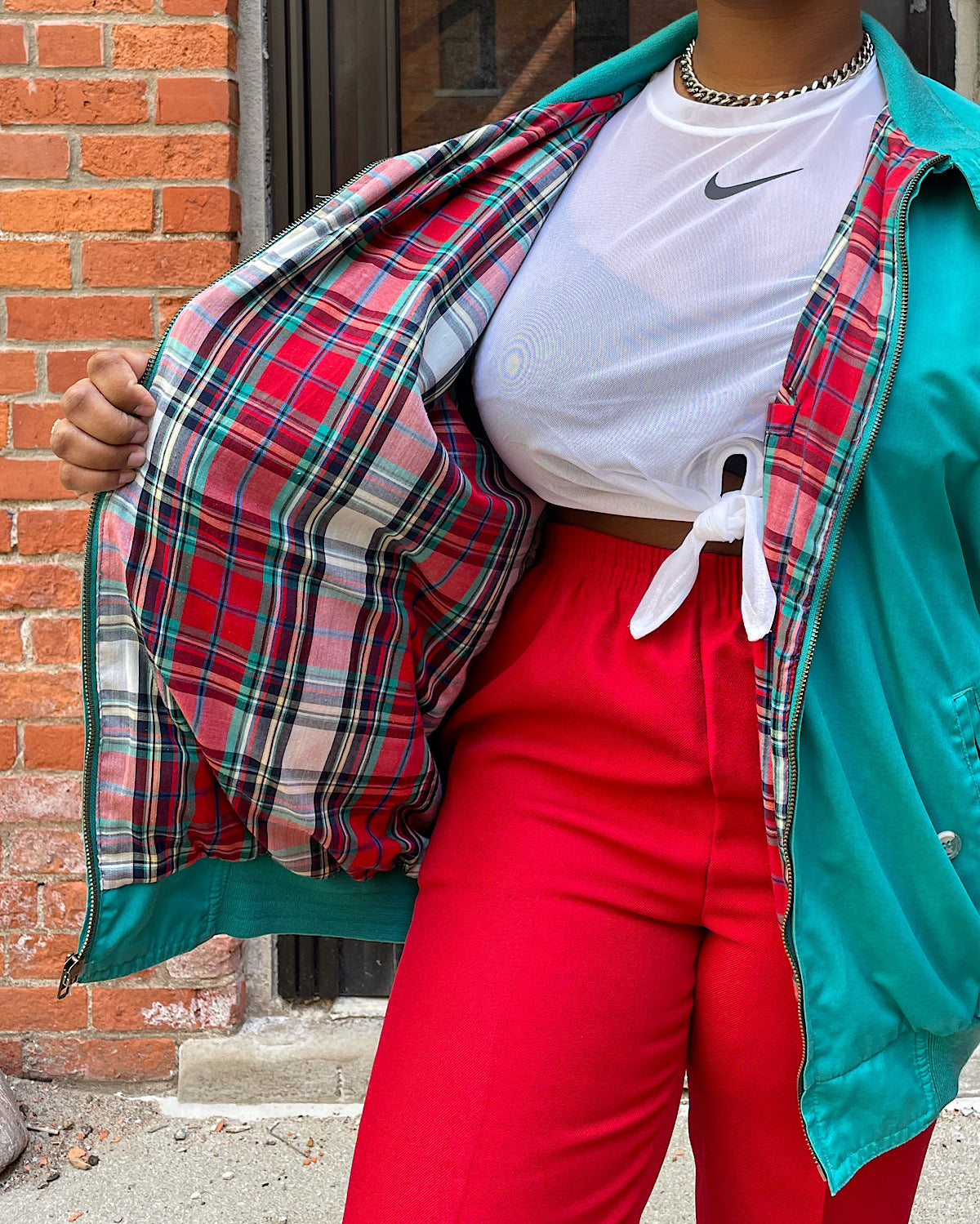 Vintage Oversized Teal Plaid Lined Jacket (XL)