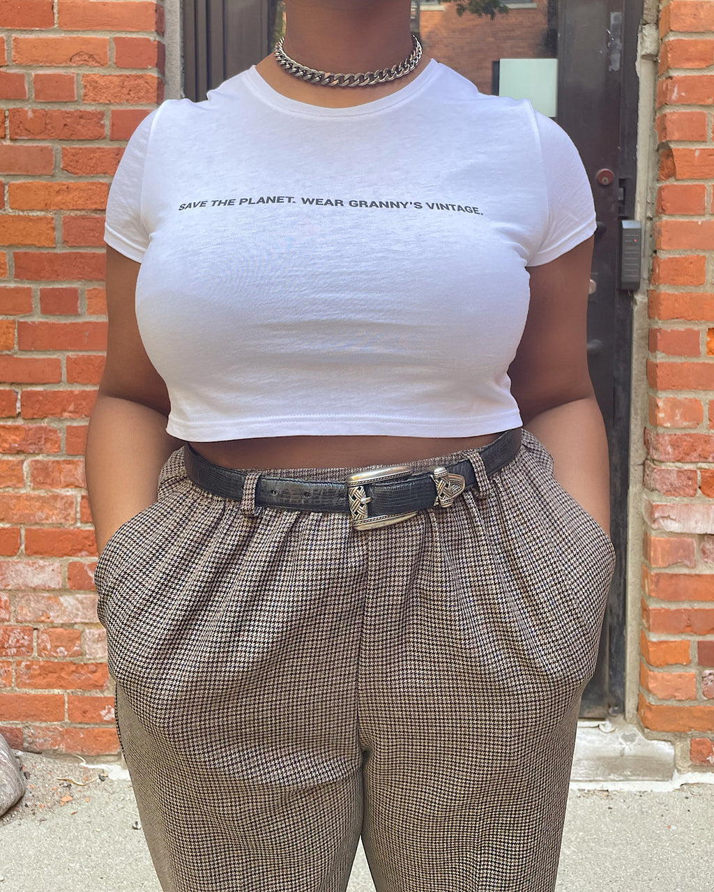 SAVE THE PLANET WEAR GRANNY'S VINTAGE CROP TOP (WHITE)