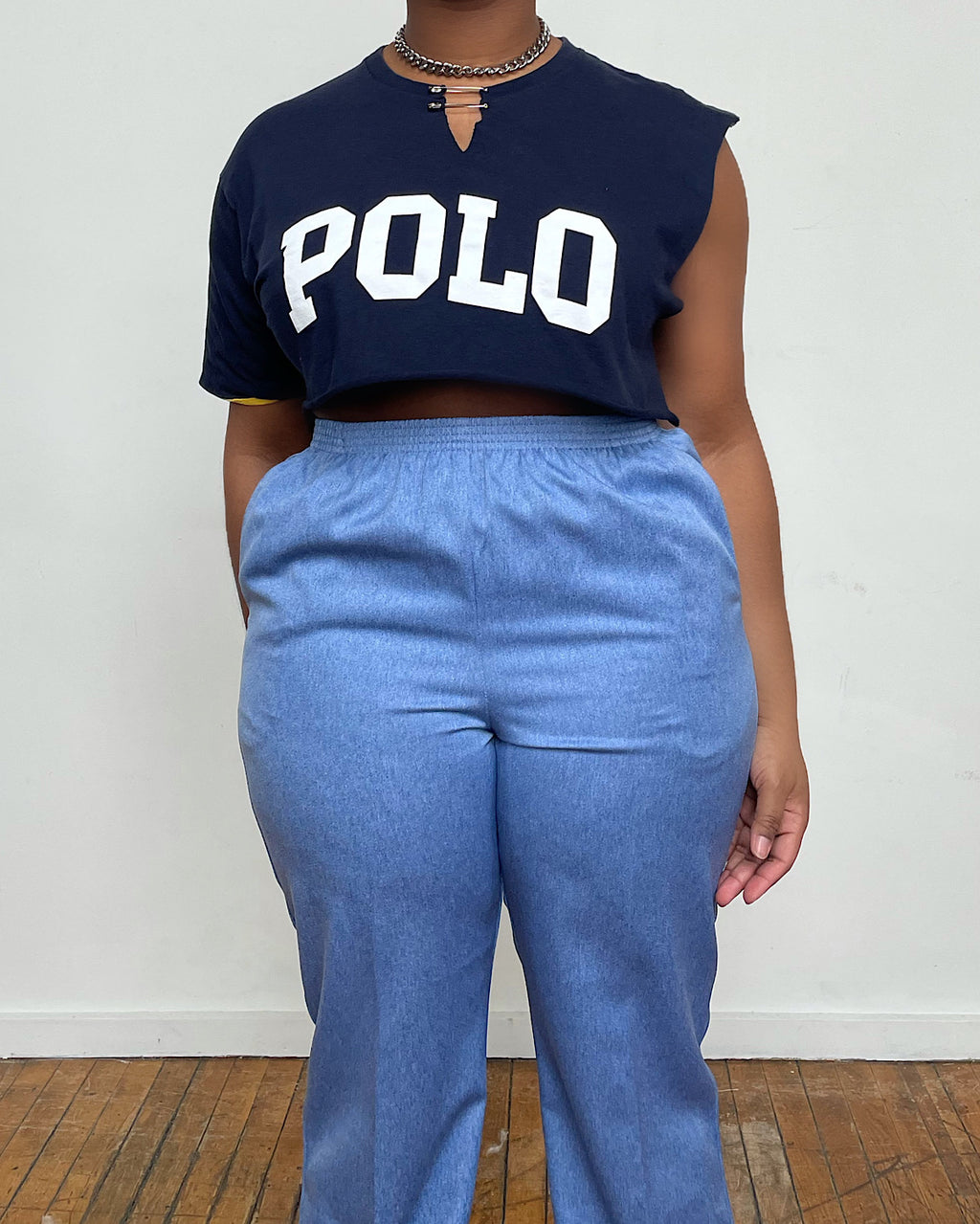 Vintage Re-Worked Polo Crop Tee (M/L)