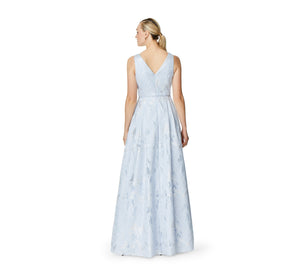 Aidan Mattox Sleeveless V-Neck Gown In Light Blue
