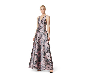 Aidan Mattox Floral Jacquard Ball Gown With V-Neck And Pleated Skirt In Pink Green Multi