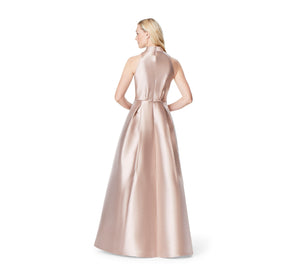 Aidan Mattox Halter Neck Ball Gown With Bow Detail In Copper