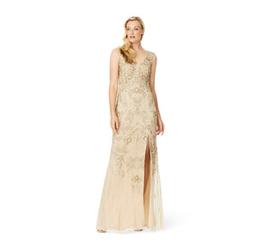 Aidan Mattox Fully Beaded Gown With Plunge Neckline In Light Gold