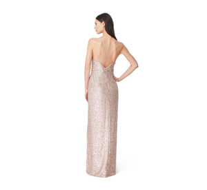 Aidan By Aidan Mattox Sequin Column Dress With Slit In Champagne Silver