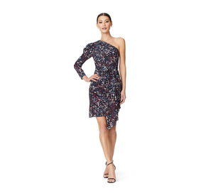 Aidan By Aidan Mattox Printed One Shoulder Draped Dress In Black Multi