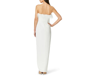 Aidan By Aidan Mattox Strapless Gown With Draped Skirt In Ivory