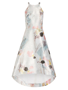 Aidan By Aidan Mattox Halter High Low Cocktail Dress In Peach Multi