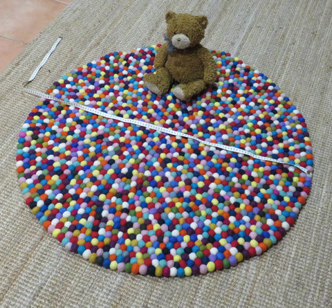 Felt Ball Rug - 1m diameter, Rainbow