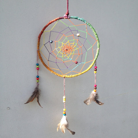 Rainbow Hemp Dream Catcher