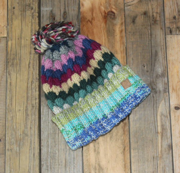 Multicolour Beanie - Bobble - 2
