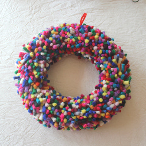 Felt Christmas Wreath - Rainbow tufts