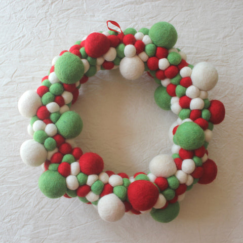Felt Christmas Wreath - Red, Green & White