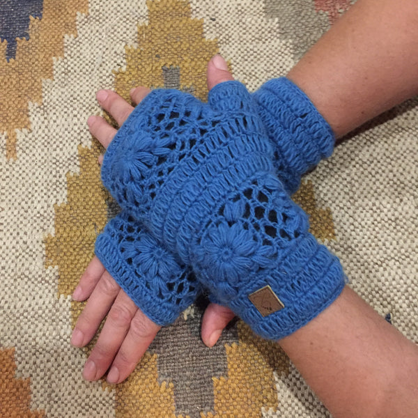 Crochet Wristwarmers - Blue