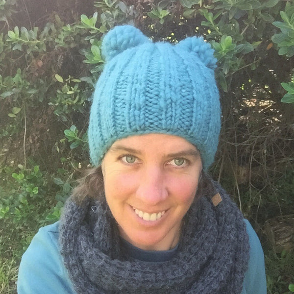 Double Bobble Beanie - Sky