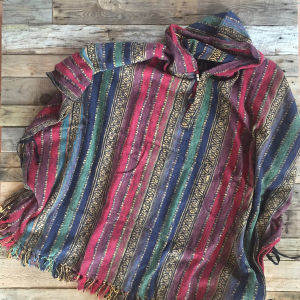 Striped Brushed Cotton Poncho - Maroon, Red, Blue & Green