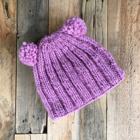 Double Bobble Beanie - Rose