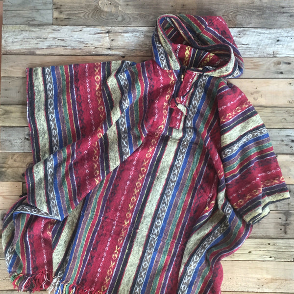 Striped Brushed Cotton Poncho - Red, Yellow & Blue