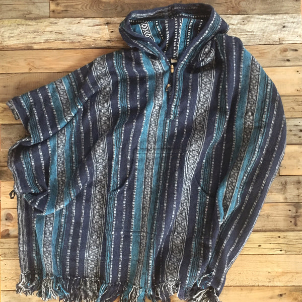 Striped Brushed Cotton Poncho - Blue and Turquoise