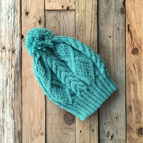 Cable Knit Merino Beanie - Azure