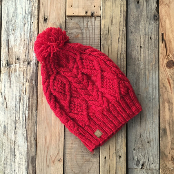 Cable Knit Merino Beanie - Cherry