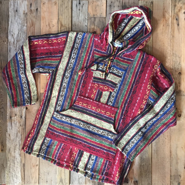 Mexican Brushed Cotton Hoody - Red Stripe