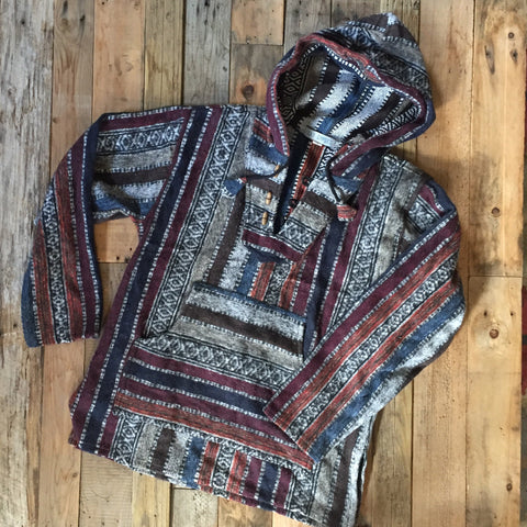 Mexican Brushed Cotton Hoody - Maroon and Blue Stripe
