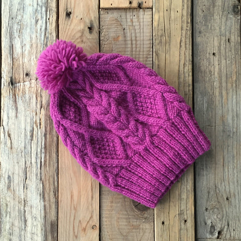 Cable Knit Merino Beanie - Raspberry
