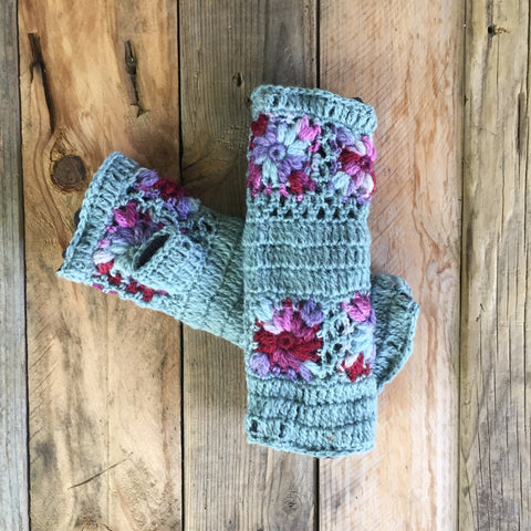 Crochet Wristwarmers - Cottage Garden