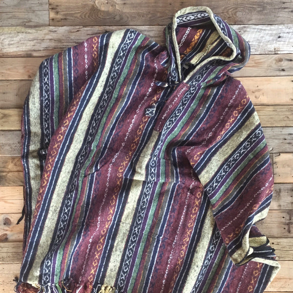 Striped Brushed Cotton Poncho - Maroon, Blue & Yellow