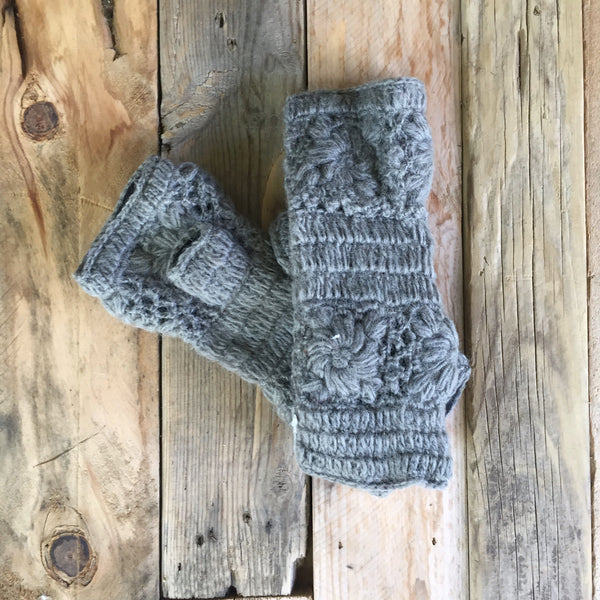 Crochet Wristwarmers - Smoke