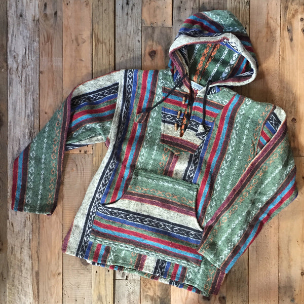 Mexican Brushed Cotton Hoody - Green Stripe