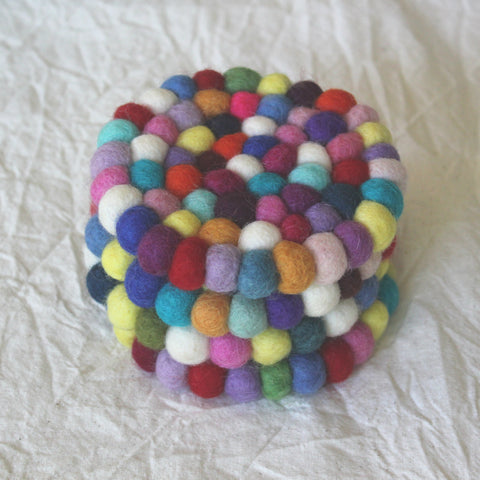 Felt Ball Coasters - Set of 4 - Rainbow