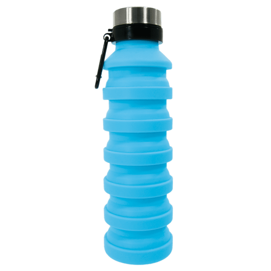 Blue Silicone Collapsible Water Bottle