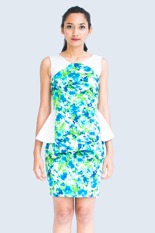Abstract Floral Peplum Dress