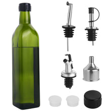 Load image into Gallery viewer, Glass Olive Oil Dispenser Bottle - [500 ml / 17 fl. oz.] Dark Green Oil and Vinegar Cruet with Pourers, Funnel and Spout Set - Olive Oil Carafe Decanter for Kitchen