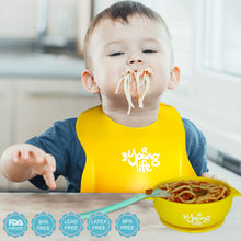 Load image into Gallery viewer, Waterproof Silicone Bib - Easy to Clean Comfortable Soft Baby Bibs - BPA Free - Lightweight & Convenient Set Includes 2 Colors for Babies or Toddlers!