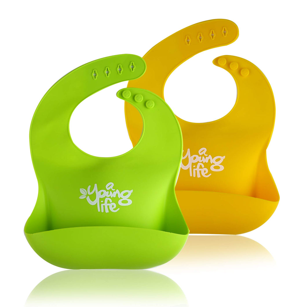 Waterproof Silicone Bib - Easy to Clean Comfortable Soft Baby Bibs - BPA Free - Lightweight & Convenient Set Includes 2 Colors for Babies or Toddlers!