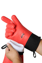 Load image into Gallery viewer, AYL Long Silicone Cooking Gloves - Long Sleeves, Heat Resistant Oven Mitt for Grilling, BBQ, Kitchen, Baking - Safe Handling of Pots and Pans - Internal Protective Cotton Layer (Red Extra Long)