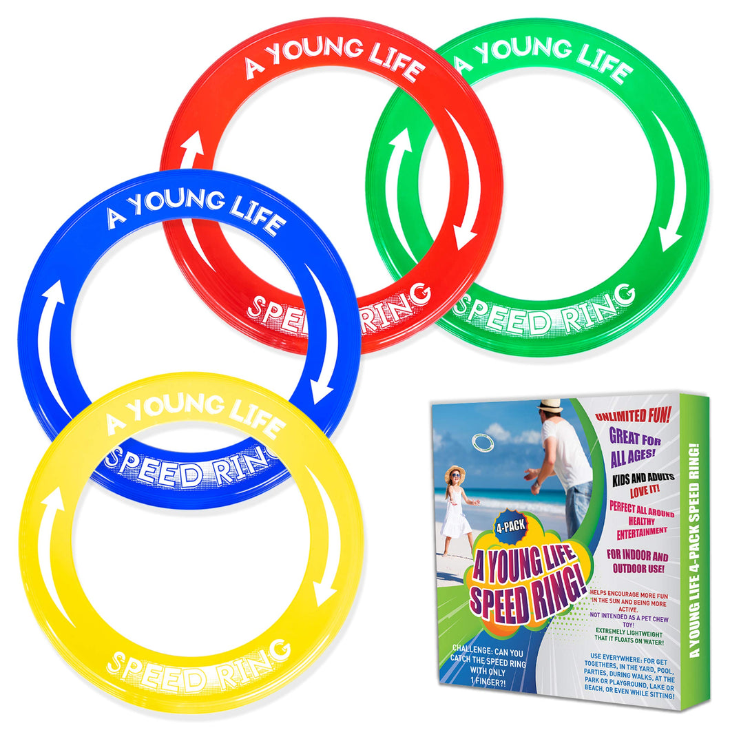 [4 Pack] Kid's Flying Rings and Adult Golf Discs - Fly Straight - Weighs 1.15 OZ Only, 80% Lighter - Floats On Water - Reduce Screen Time, Up Family Fun, Play Outdoors and Get Sunshine! Made in USA