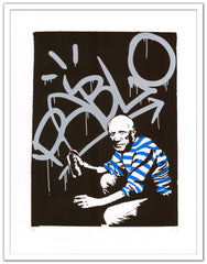 Sr.X artwork - Pablo Picasso - street art - Framed white - Gunter Gallery