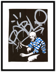 Sr.X artwork - Pablo Picasso - street art - Framed black - Gunter Gallery