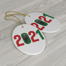 Load image into Gallery viewer, Bernie Sanders 2021 Christmas Ornaments - Bernie Mittens Ornament - Bernie 2021 Meme Ornament - Bernie Christmas 2021 Ornament Ceramic