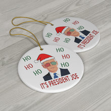 Load image into Gallery viewer, Ho Ho Ho It's President Joe - Biden Christmas Ornament - Biden Ornament Double Sided Round Ceramic Ornaments - Joe Biden President 46 Santa