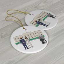 Load image into Gallery viewer, Bernie Sanders Mittens Christmas Ornament - President Biden Madam VP Kamala Harris at White House ft Bernie Sitting Chair Ceramic Ornaments