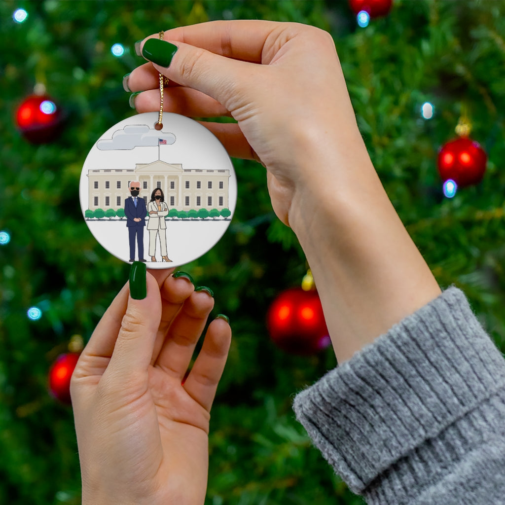 President Joe Biden VP Kamala Harris White House Ornament - Double Sided Round Ceramic Biden Ornament - President Elect Mask USA Kamala